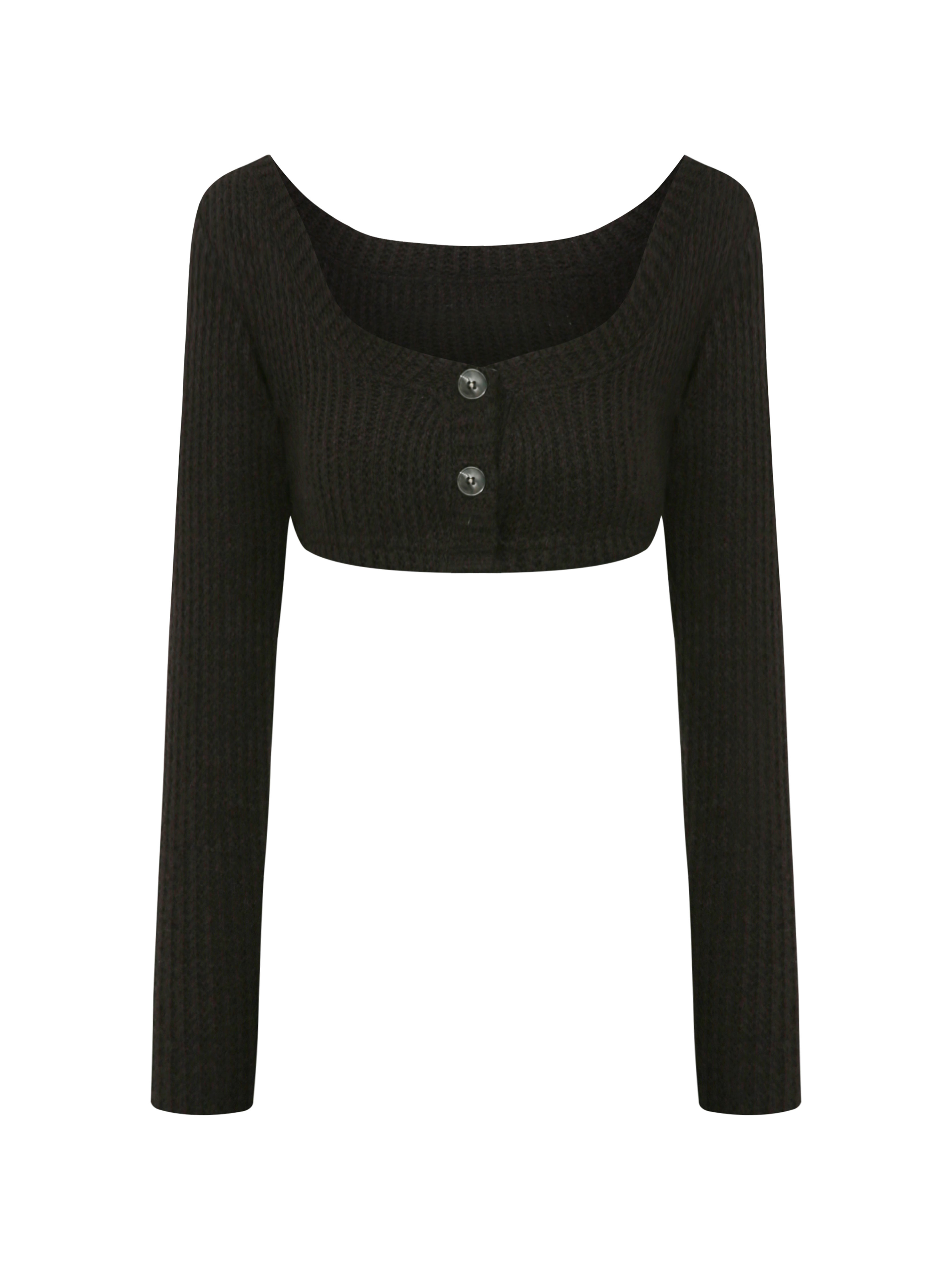 [3rd restock] cropped waffle cardigan.tht (bk)