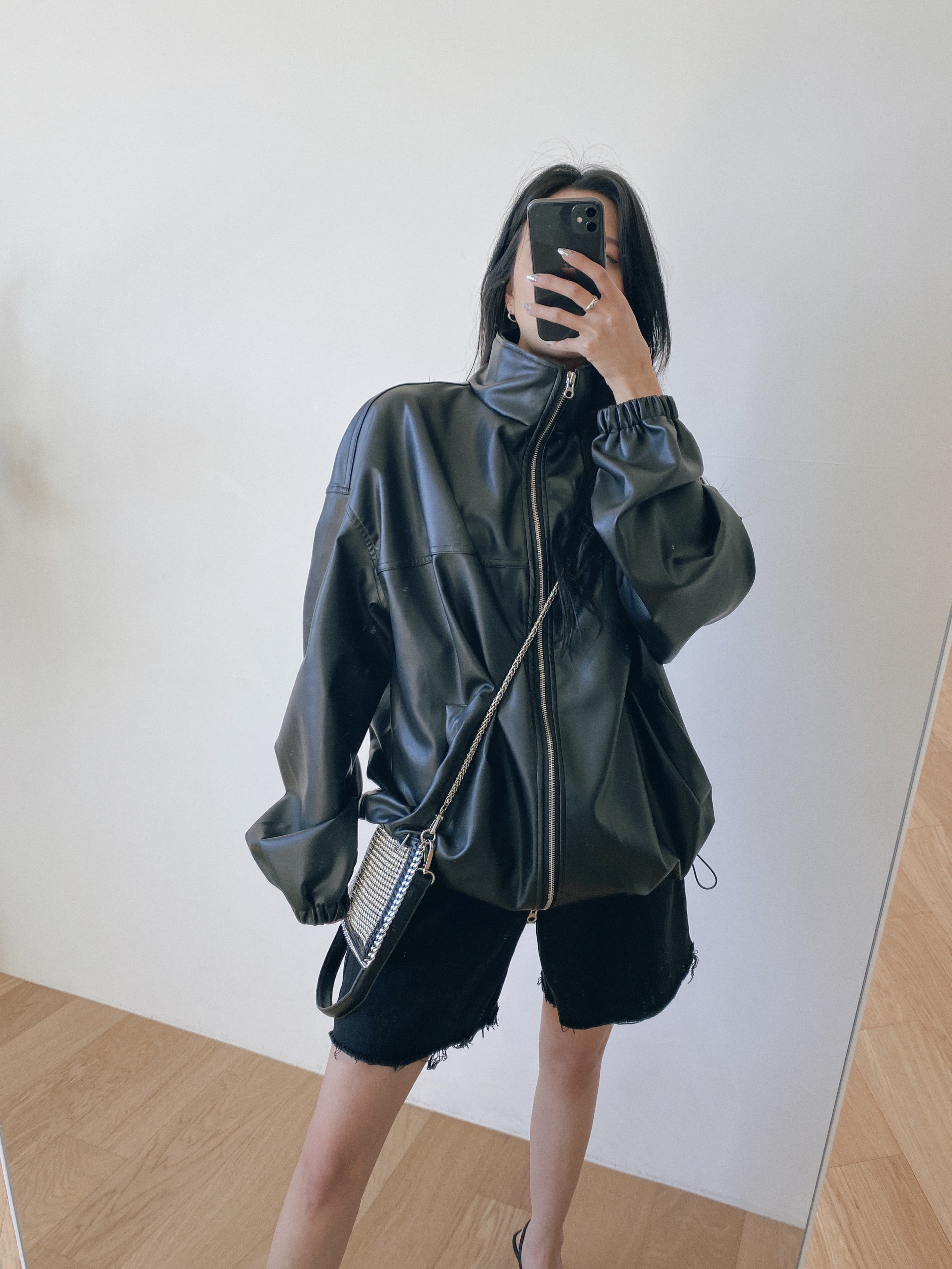 overfit string leather jacket